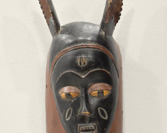 African Mask Baule Black Long Ears Mask Ivory Coast 20""