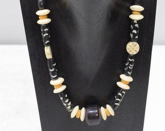 Necklace Black Bone Horn Beaded Necklace