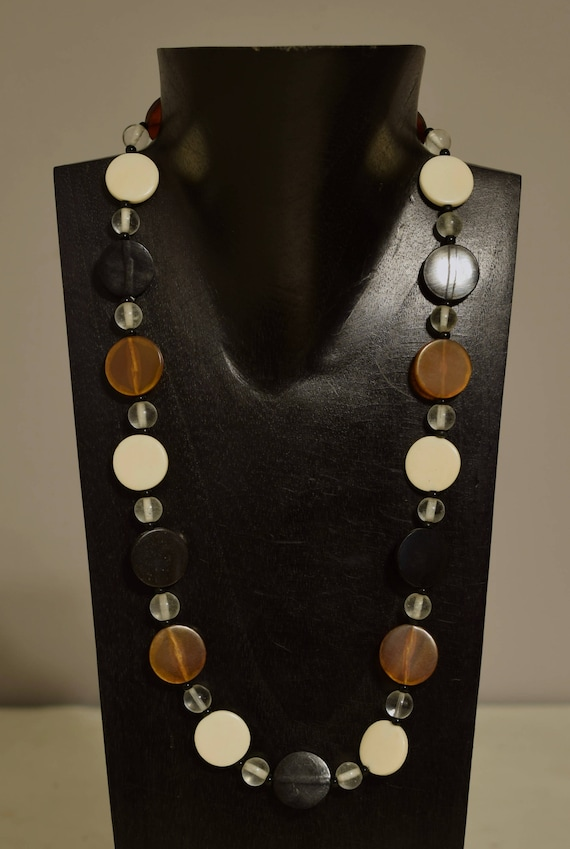 Necklace Indonesian Black Brown Horn White Bone Disc Beaded Handmade Horn Jewelry Necklace