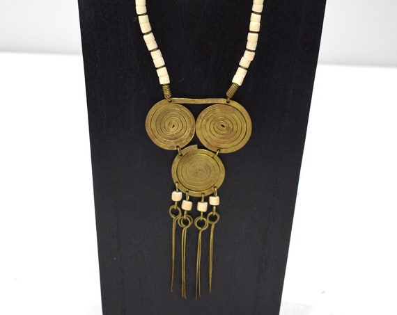 Necklace Africa Turkana Brass White Glass Necklace 25""