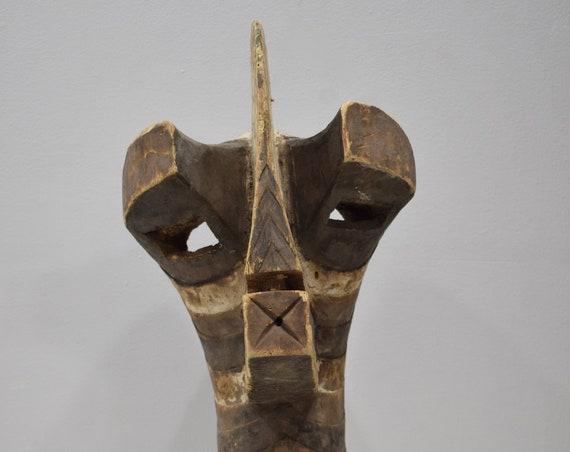 African Mask Songye Male Brown Wood Congo