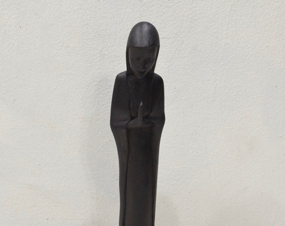 African Statue Praying Madonna Ebony Sculpture Tanzania
