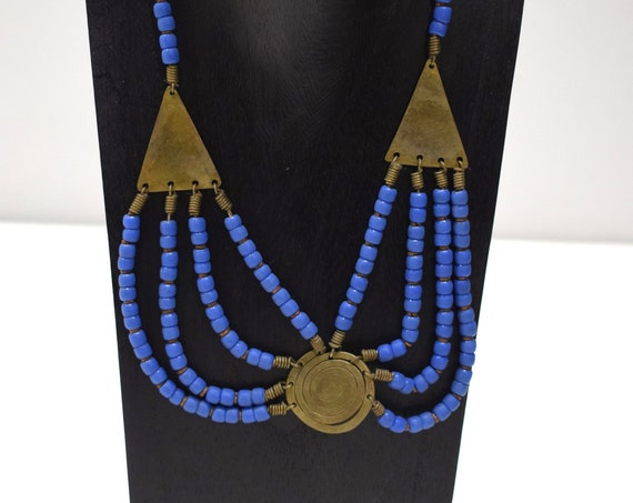 Necklace African Old Turkana Brass Blue Glass 20""