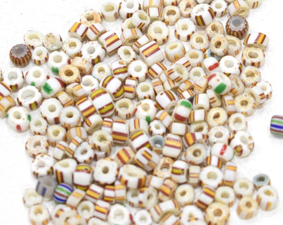 Beads African Yellow Brown White Stripped Chevron Glass 5mm - 8mm