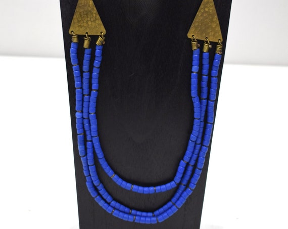 Necklace African Old Turkana Blue Glass 24""