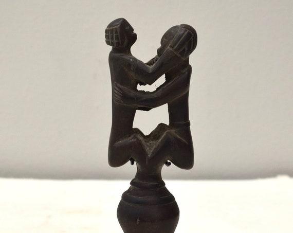 African Lobi Flute Carved Wood Figurative Musical Flute