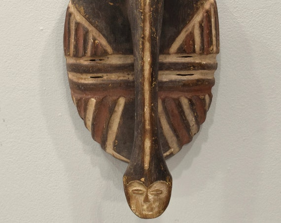 Mask African Wood Eket Ceremonial Mask 14.5""