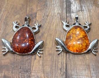 Pendant  Silver Faux Amber Frog Pendants