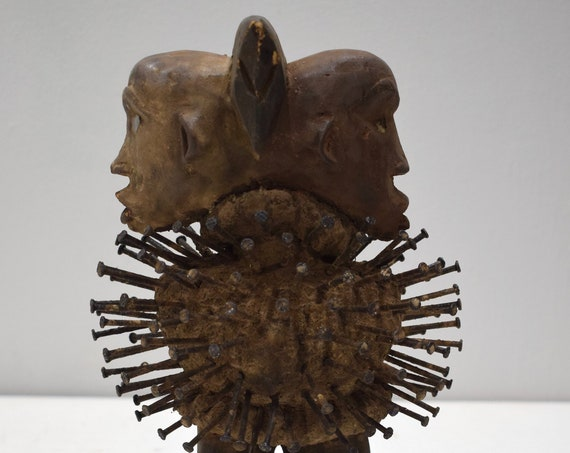 African Nail Fetish Double Face Congo Wood Nails Fetish Statue
