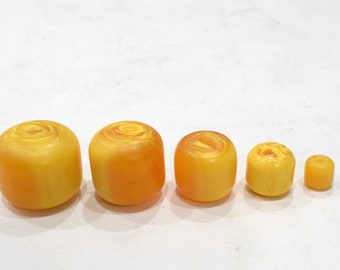 Beads Light Butterscotch Round Copal Amber Beads 38mm - 13mm