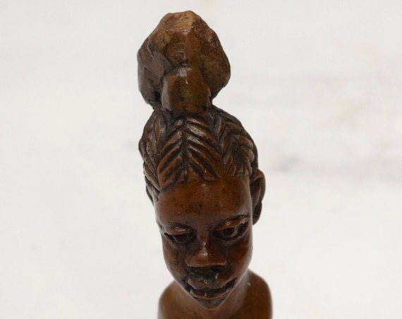 African Soapstone Female Bust Carved Sculpture Kenya