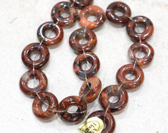 Beads Poppy Jasper Donuts Beads 10mm
