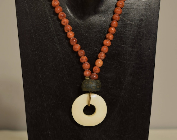Necklace Bone Round Pendant Apple Coral Beaded Handmade Red Coral Bead Jewelry Necklace