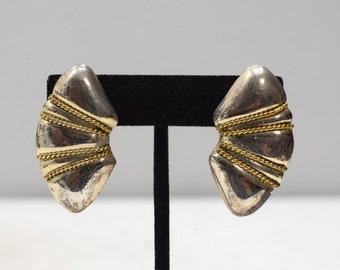 Earrings Silver Gold Oval Clip Earrings