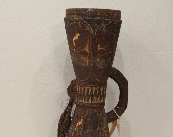 Papua New Guinea Drum Siassi Wood Carved Tribal Drum