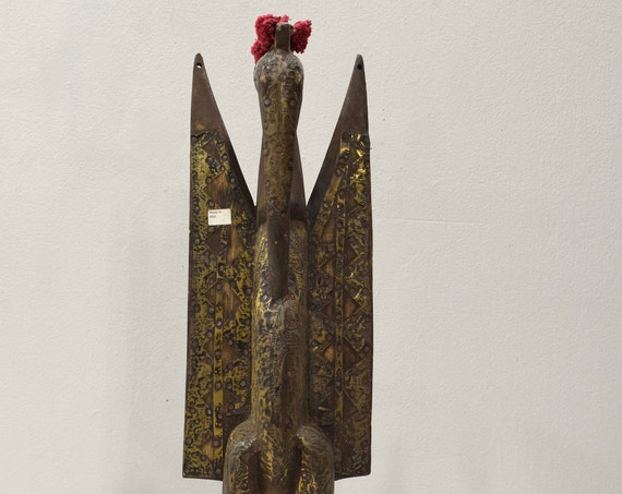 African Statue Hornill Senufo Wood Statue 22""
