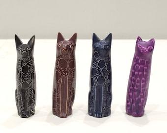 African Cat Soapstone Carved Cat Figurine Sculpture Kenya