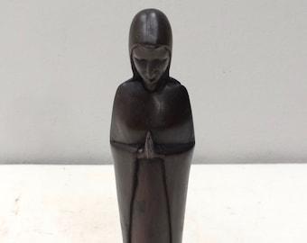 African Statue Praying Madonna Ebony Sculpture Tanzania