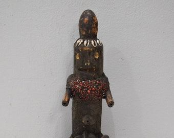 African Fetish Doll Cameroon Beaded Cowrie Shell Wood Doll