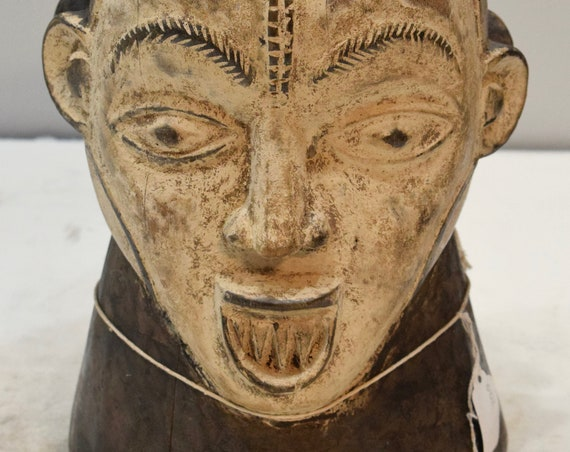 African Mask Janus Crest Carved Helmet Mask Nigeria Male Dances Ceremonies Crest Helmet Mask