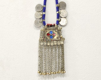 Necklace Afghanistan Beaded Silver Coin Necklace
