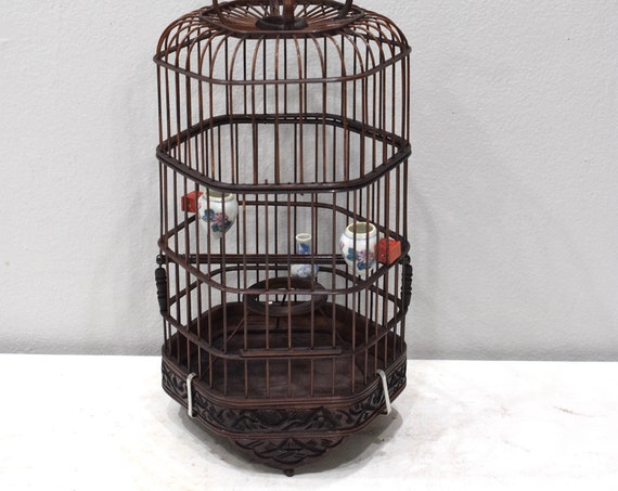 Birdcage Chinese Wicker Hexagon Adjustable Birdcage Porcelain Water Food Bowls