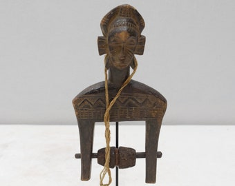 African Senufo Tribe Wood Hand Pulley