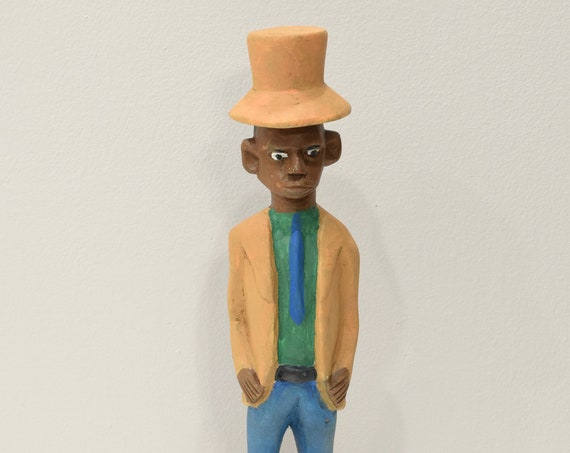 African Statue Colonial Male West African Wood Colonial Figure