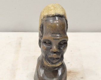 African Soapstone Male Bust Carved Sculpture Swaziland