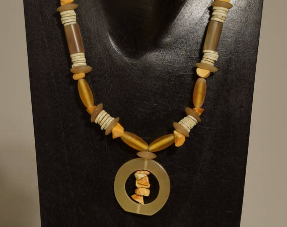 Necklace Baltic Amber Chips African Ostrich Shell Horn Beaded Handmade Horn Jewelry Necklace