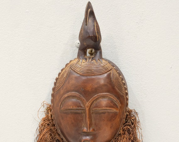 African Mask Baule Rafia Wood Passport Mask Mask Ivory Coast