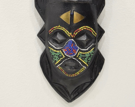 African Mask Ashanti Beaded Bird Wood Mask Ghana Bird Mask