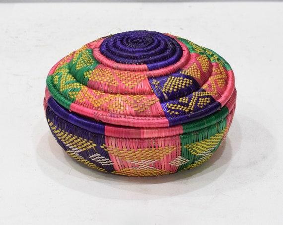 Basket African Ethiopian Gurage Grass Woven Basket