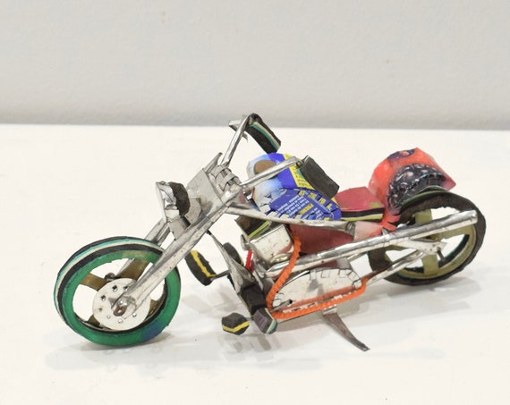 Toy Motorcycle African Recycled Tin Can Tanzania Toy Motorcycle