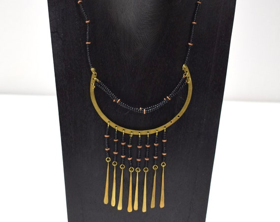 Necklace Africa Brass Black Glass Necklace 20""