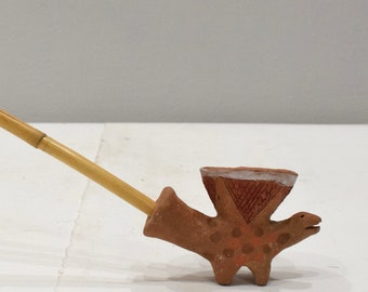 African Tonga Painted Clay Pipe