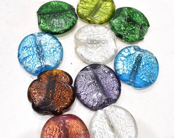Beads Assorted Colored Silver Leaf Round Glass 34-36mm