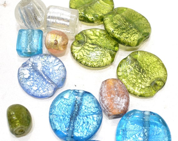 Beads Assorted Colored Silver Leaf Round Glass 17-36mm