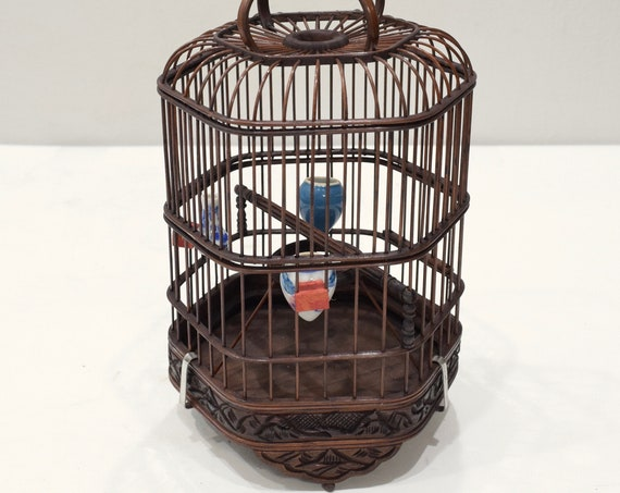 Chinese Wicker Hexagone Extendable Birdcage Porcelain Water Food Bowls Wicker Birdcage