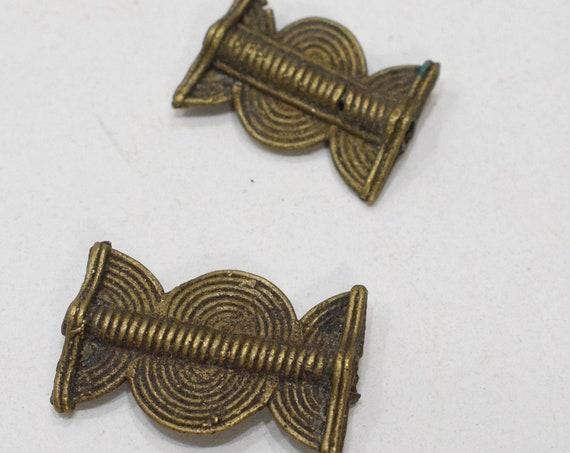 Beads African Old Brass Rectangular Pendants 26-31mm