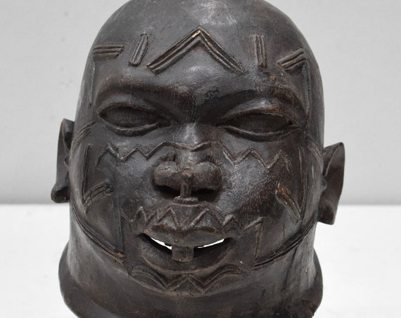 African Mask Makonde Helmet Black Wood Male Tanzania Mask 8""