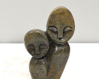 African Soapstone Carved Mother Child Sculpture Kenya