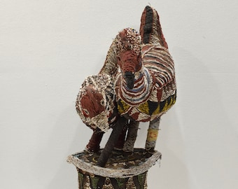 African Bamileke Double Chicken Beaded Hat