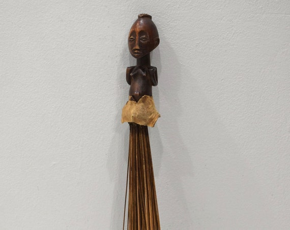 African Fly Whisk Luba Tribe Carved Female Figure Handle