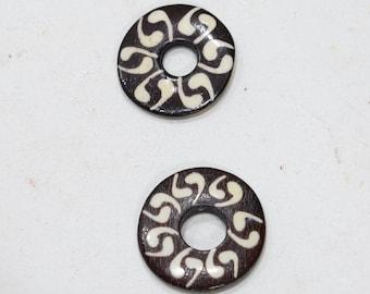 Beads Batik Bone Donut Ring Beads
