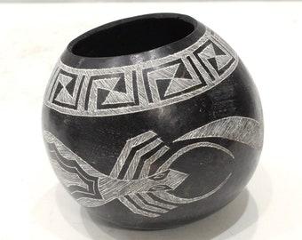 African Black White Etched Gourd Bowl Kamba Kenya