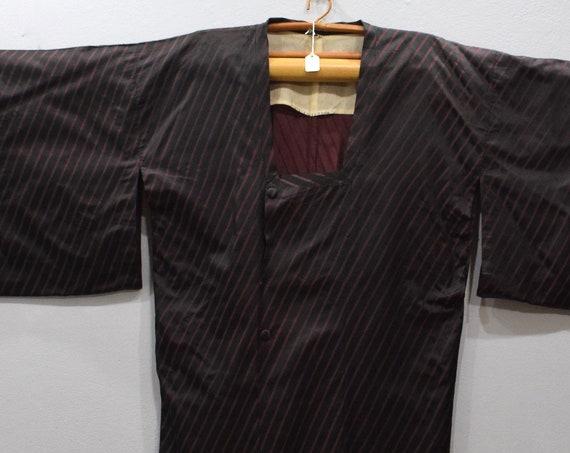 Kimono Japanese Black Stripe  Button Kimono