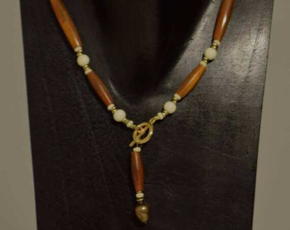 Necklace Indonesian Brown Horn Tubes Bone Beads Handmade Jewelry Bone Gold Spaces Brown Horn Front Toggle Necklace