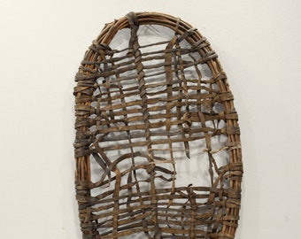 African Basket Leather Wood Woven Donkey Basket Turkana Tribe Kenya