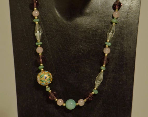 Necklace Chinese Cloisonne Amethyst Jade  Rose Quartz Crystal Beads Handmade Jewelry Necklace